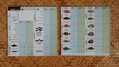 REEF LOG Fish Slate personalized for each participating dive shop.
